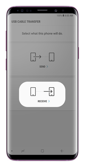 USB Cable transfer screen with send and receive options