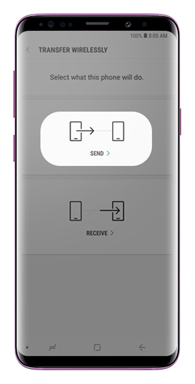 Transfer Wirelessly screen with send and receive options