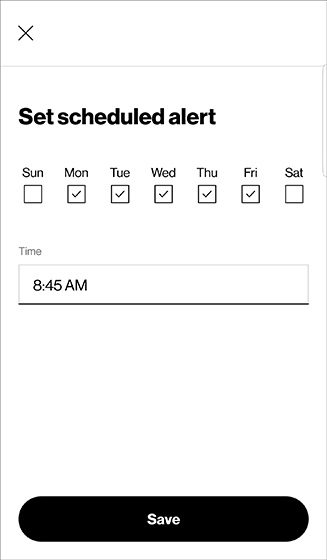 Add an alert with available options and Save