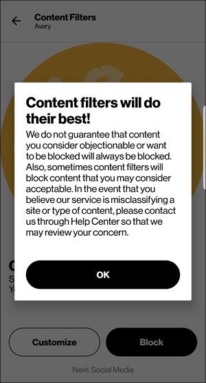Content Filters disclaimer with OK
