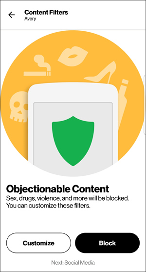 Objectionable Content with Customize and Block
