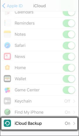 Oprime iCloud Backup