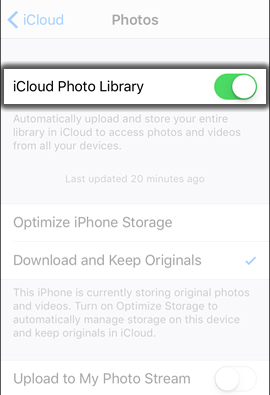 Tap iCloud Photo Library