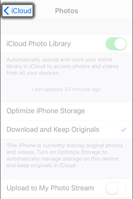 Tap the iCloud Back Arrow