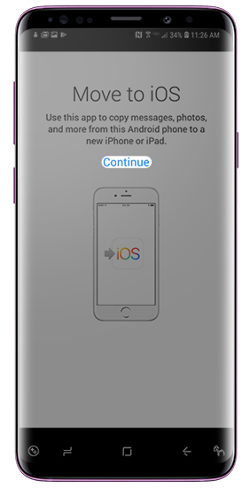 Move to iOS app screen with emphasis on Continue