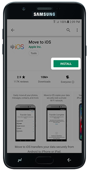 Move to iOS Play Store page with emphasis on INSTALL button
