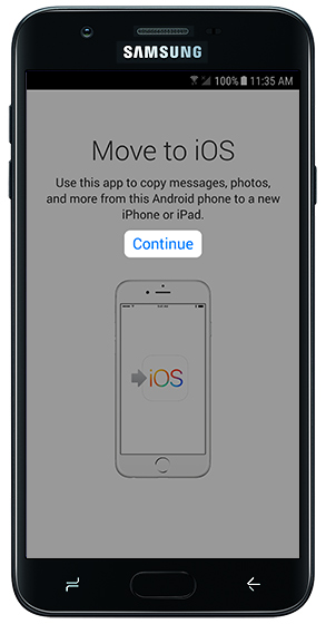 Move to iOS start screen with emphasis on Continue