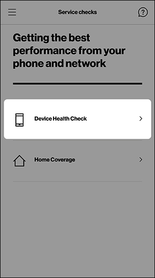 Service check screen with emphasis on Device Health Check