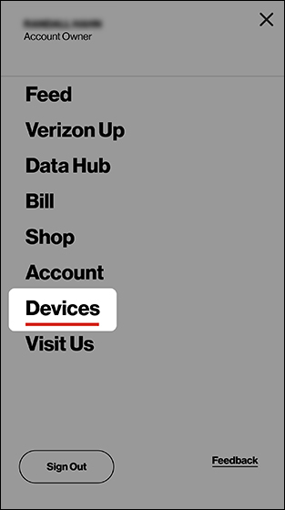 My Verizon menu screen with emphasis on Devices option