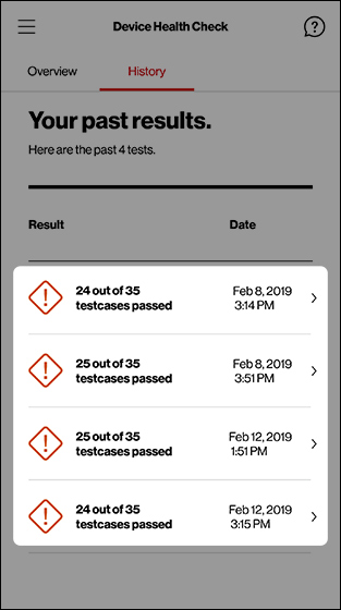 Device Health Check history screen with emphasis on test result lines