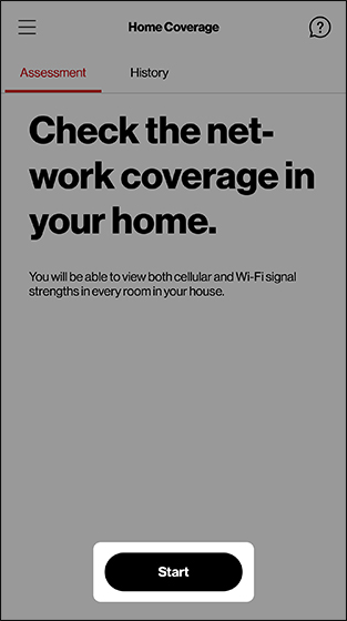 Home Coverage screen with emphasis on Start button