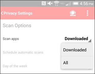 Select a Scan Apps Setting