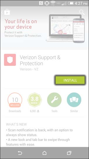 Tap Verizon Support & Protection
