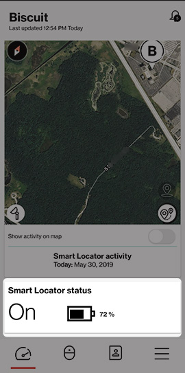 From the Dashboard tab, Smart Locator status