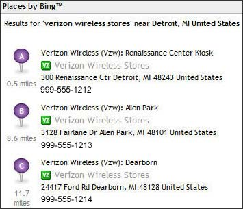 Local Search using VZ Navigator