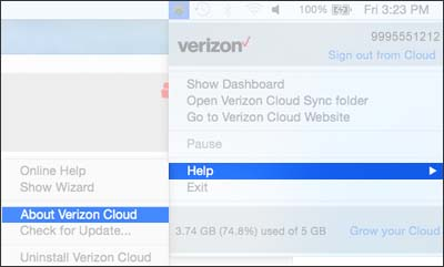Click About Verizon Cloud