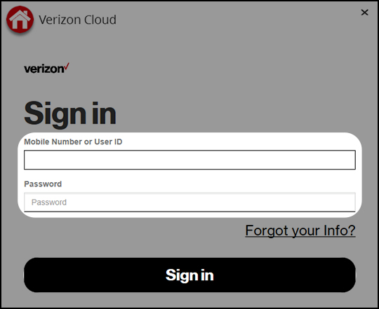 Sign into Verizon Cloud