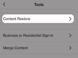 Tap Content Restore