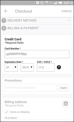 Enter the Payment Card Info