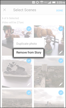 Tap Remove From Story