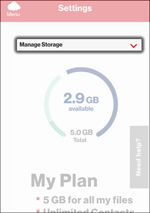 Tap the Manage Storage Dropdown Menu