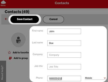 Tap Save Contact