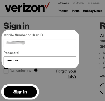 Sign in to My Verizon