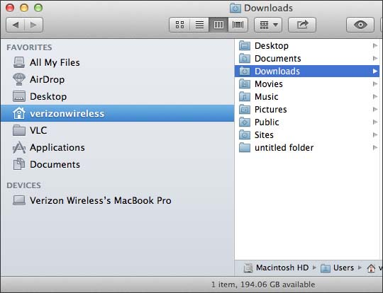Finder with Downloads