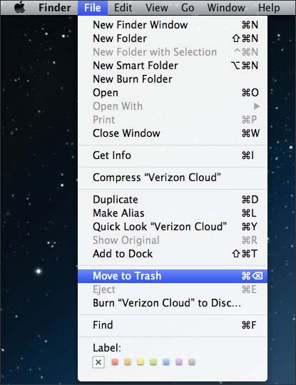 Top menu con File y Move to Trash