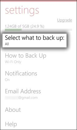 Select What to Backup