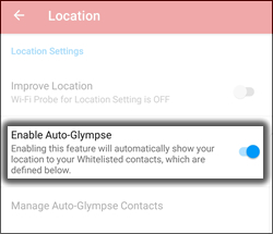 Tap Enable Auto-Glympse