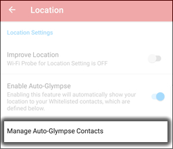 Tap Manage Auto-Glympse Contacts
