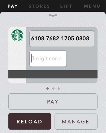 Starbucks app user interface with emphasis on menu selections and data entry fields.