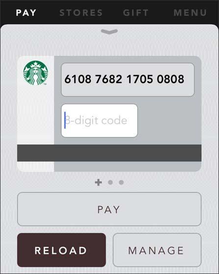 Interfaz de usuario de la aplicación Starbucks con selecciones de menú y campos de ingreso de datos.