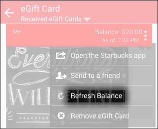 Menu icon tapped with Refresh Balance option highlighted
