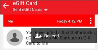 Menu icon tapped with option to resend gift