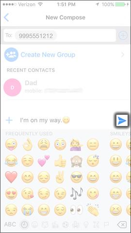 Tap the Send Icon