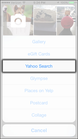 Tap Yahoo Search