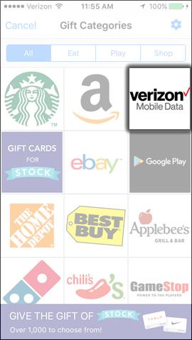 Tap Verizon Mobile Data