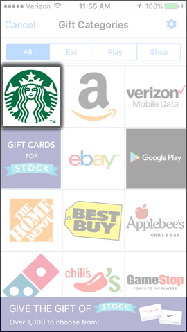 Select a Gift Card Option