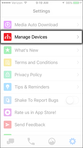 Tap Manage Devices