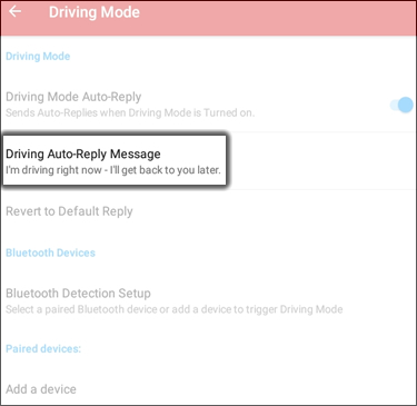 Tap Driving Auto Reply Message