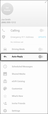 Tap the Auto Reply Switch