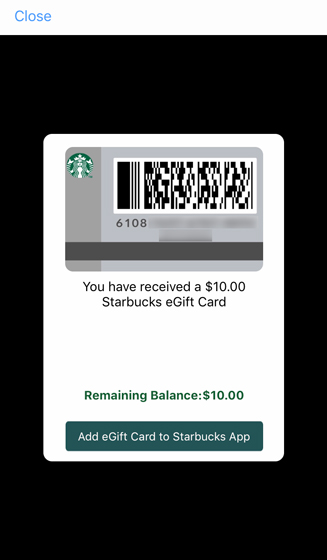 Received eGift Card with details