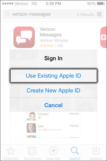 Tap Use existing Apple ID