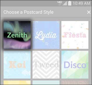 Seleccionar un estilo de postal