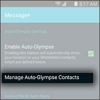 Manage Auto Glympse Contacts