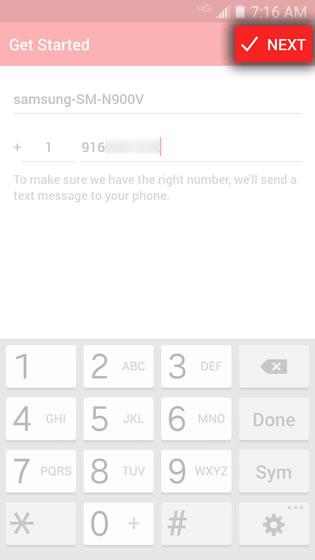 Enter Phone Number Tap Next