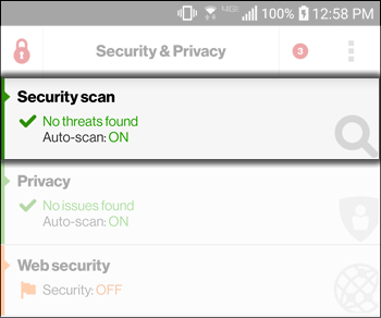 Tap the Security Scan Tab