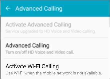 Activate Wi-Fi Calling